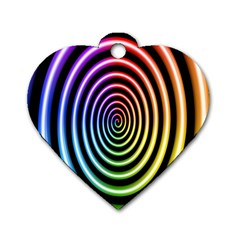Hypnotic Circle Rainbow Dog Tag Heart (two Sides)