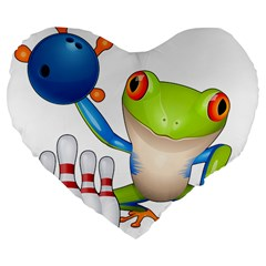 Tree Frog Bowler Large 19  Premium Flano Heart Shape Cushions