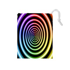 Hypnotic Circle Rainbow Drawstring Pouches (medium)