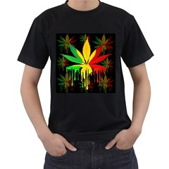 Marijuana Cannabis Rainbow Love Green Yellow Red Black Men s T Shirt (black) (two Sided)