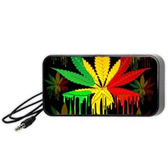 Marijuana Cannabis Rainbow Love Green Yellow Red Black Portable Speaker (black)