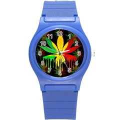 Marijuana Cannabis Rainbow Love Green Yellow Red Black Round Plastic Sport Watch (s)