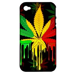 Marijuana Cannabis Rainbow Love Green Yellow Red Black Apple Iphone 4/4s Hardshell Case (pc+silicone)