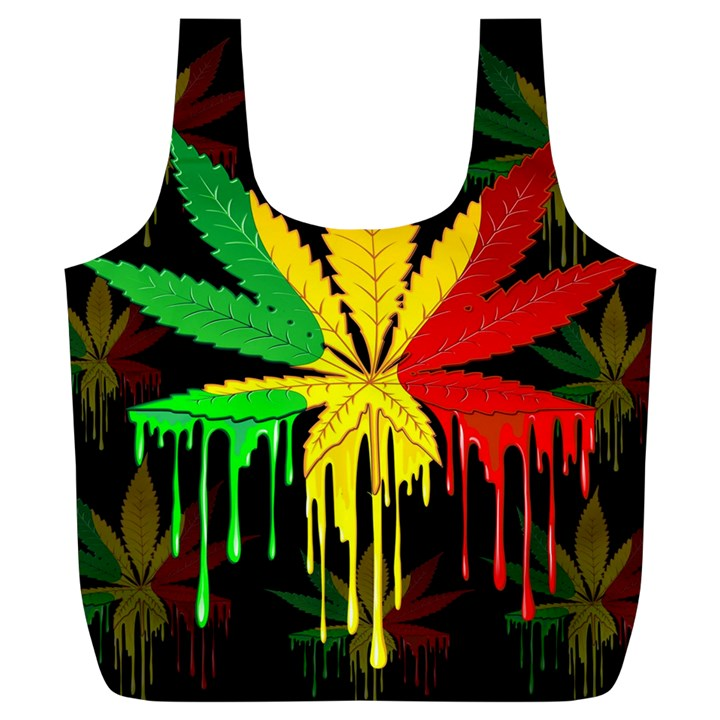 Marijuana Cannabis Rainbow Love Green Yellow Red Black Full Print Recycle Bags (L)