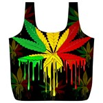 Marijuana Cannabis Rainbow Love Green Yellow Red Black Full Print Recycle Bags (L)  Back