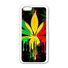 Marijuana Cannabis Rainbow Love Green Yellow Red Black Apple Iphone 6/6s White Enamel Case