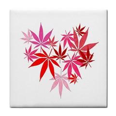 Marijuana Cannabis Rainbow Pink Love Heart Tile Coasters