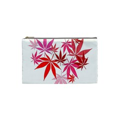 Marijuana Cannabis Rainbow Pink Love Heart Cosmetic Bag (small)