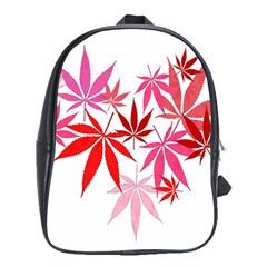 Marijuana Cannabis Rainbow Pink Love Heart School Bag (xl)