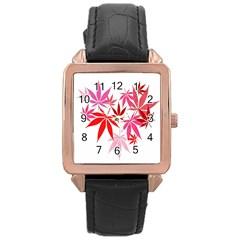 Marijuana Cannabis Rainbow Pink Love Heart Rose Gold Leather Watch