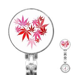 Marijuana Cannabis Rainbow Pink Love Heart Stainless Steel Nurses Watch