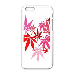 Marijuana Cannabis Rainbow Pink Love Heart Apple Iphone 6/6s White Enamel Case