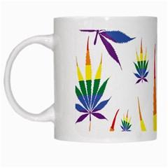 Marijuana Cannabis Rainbow Love Green Yellow Red White Leaf White Mugs