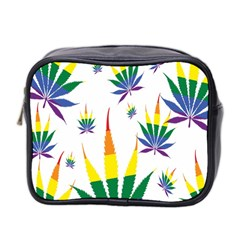 Marijuana Cannabis Rainbow Love Green Yellow Red White Leaf Mini Toiletries Bag 2 Side