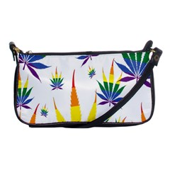 Marijuana Cannabis Rainbow Love Green Yellow Red White Leaf Shoulder Clutch Bags