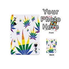 Marijuana Cannabis Rainbow Love Green Yellow Red White Leaf Playing Cards 54 (mini)