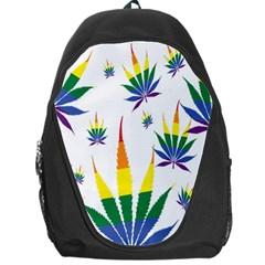 Marijuana Cannabis Rainbow Love Green Yellow Red White Leaf Backpack Bag