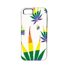 Marijuana Cannabis Rainbow Love Green Yellow Red White Leaf Apple Iphone 5 Classic Hardshell Case (pc+silicone)