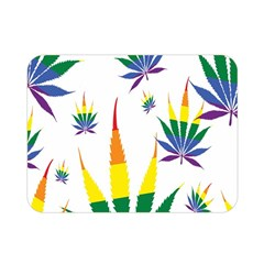Marijuana Cannabis Rainbow Love Green Yellow Red White Leaf Double Sided Flano Blanket (mini)