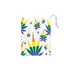 Marijuana Cannabis Rainbow Love Green Yellow Red White Leaf Drawstring Pouches (xs)
