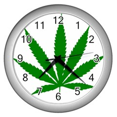 Marijuana Weed Drugs Neon Cannabis Green Leaf Sign Wall Clocks (silver)