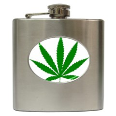 Marijuana Weed Drugs Neon Cannabis Green Leaf Sign Hip Flask (6 Oz)