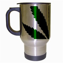Marijuana Weed Drugs Neon Cannabis Green Leaf Sign Travel Mug (silver Gray)