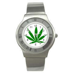 Marijuana Weed Drugs Neon Cannabis Green Leaf Sign Stainless Steel Watch
