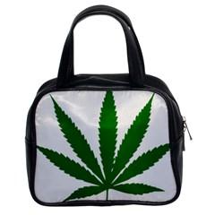 Marijuana Weed Drugs Neon Cannabis Green Leaf Sign Classic Handbags (2 Sides)