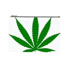 Marijuana Weed Drugs Neon Cannabis Green Leaf Sign Cosmetic Bag (large)