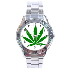 Marijuana Weed Drugs Neon Cannabis Green Leaf Sign Stainless Steel Analogue Watch