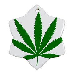 Marijuana Weed Drugs Neon Cannabis Green Leaf Sign Snowflake Ornament (two Sides)