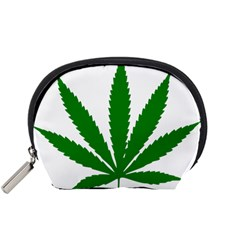 Marijuana Weed Drugs Neon Cannabis Green Leaf Sign Accessory Pouches (small)