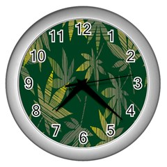 Marijuana Cannabis Rainbow Love Green Yellow Leaf Wall Clocks (silver)