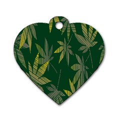 Marijuana Cannabis Rainbow Love Green Yellow Leaf Dog Tag Heart (one Side)