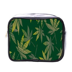 Marijuana Cannabis Rainbow Love Green Yellow Leaf Mini Toiletries Bags