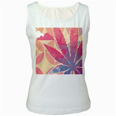 Marijuana Heart Cannabis Rainbow Pink Cloud Women s White Tank Top
