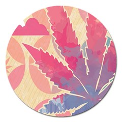 Marijuana Heart Cannabis Rainbow Pink Cloud Magnet 5  (round)