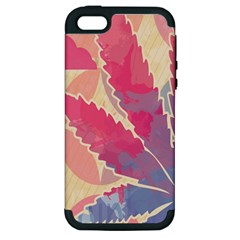 Marijuana Heart Cannabis Rainbow Pink Cloud Apple Iphone 5 Hardshell Case (pc+silicone)