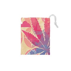 Marijuana Heart Cannabis Rainbow Pink Cloud Drawstring Pouches (xs)