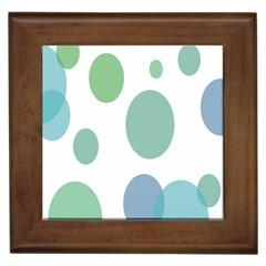 Polka Dots Blue Green White Framed Tiles