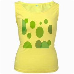 Polka Dots Blue Green White Women s Yellow Tank Top
