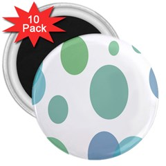 Polka Dots Blue Green White 3  Magnets (10 Pack)