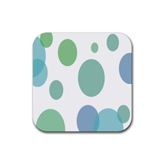 Polka Dots Blue Green White Rubber Square Coaster (4 Pack)
