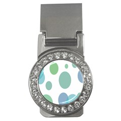 Polka Dots Blue Green White Money Clips (cz)