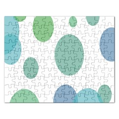 Polka Dots Blue Green White Rectangular Jigsaw Puzzl