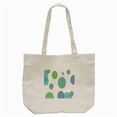 Polka Dots Blue Green White Tote Bag (cream)