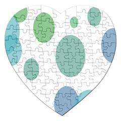 Polka Dots Blue Green White Jigsaw Puzzle (heart)