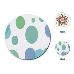 Polka Dots Blue Green White Playing Cards (round)