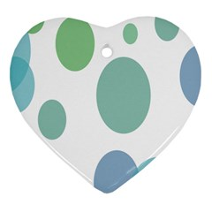 Polka Dots Blue Green White Heart Ornament (two Sides)